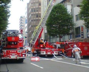 消防車10台ぐらい集結してました